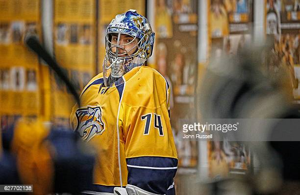 Juuse Saros of the Nashville Predators waits to lead the team to the ice for his start in goal against the Philadelphia Flyers during an NHL game at...