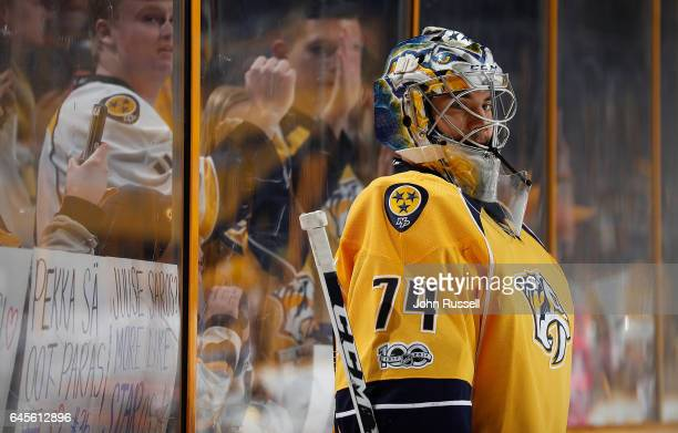 Juuse Saros of the Nashville Predators warms up prior to an NHL game against the Edmonton Oilers at Bridgestone Arena on February 26 2017 in...