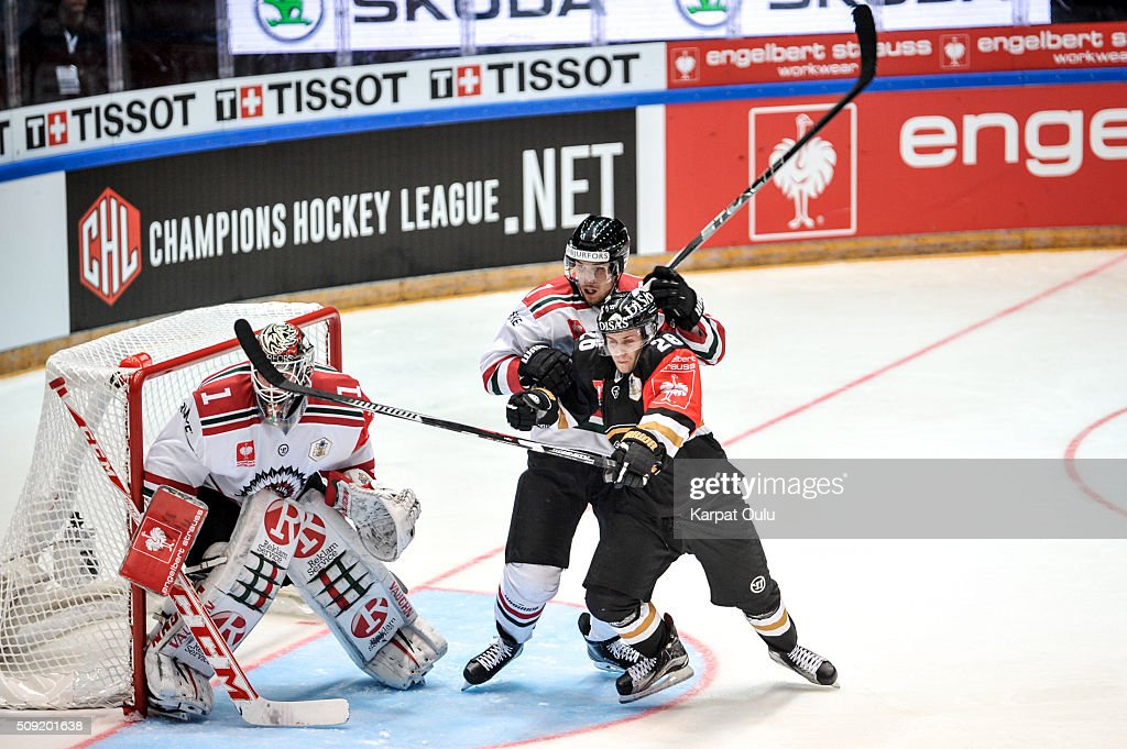 Juuso Ikonen #26 of Karpat Oulu and Henrik Tommernes n#7 of Frolunda Gothenburg during the Champions Hockey League final between Karpat Oulu and Frolunda Gothenburg at Oulun Energia-Areena on February 9, 2016 in Oulu, Finland.