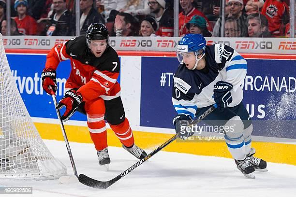 Juuso Ikonen of Team Finland skates around the net with Josh Morrissey of Team Canada following behind during the 2015 IIHF World Junior Hockey...