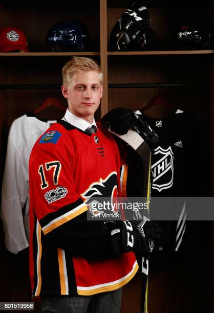 Juuso Valimaki 16th overall pick of the Calgary Flames poses for a portrait during Round One of the 2017 NHL Draft at United Center on June 23 2017...