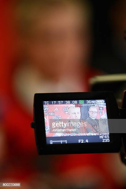 Juuso Valimaki is interviewed after being selected 16th overall by the Calgary Flames during the 2017 NHL Draft at the United Center on June 23 2017...