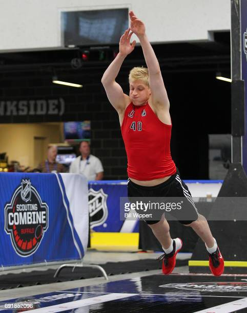 Juuso Valimaki jumps during the NHL Combine at HarborCenter on June 3 2017 in Buffalo New York
