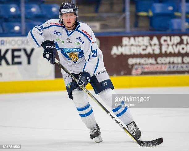Juuso Valimaki of Finland controls the puck against Canada during a World Jr Summer Showcase game at USA Hockey Arena on August 2 2017 in Plymouth...