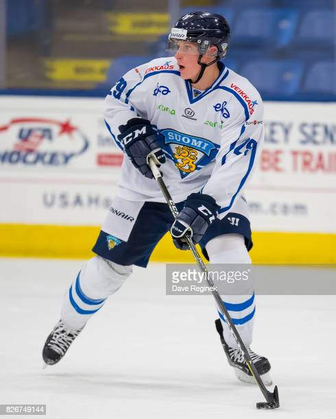 Juuso Valimaki of Finland turns up ice with the puck against Canada during a World Jr Summer Showcase game at USA Hockey Arena on August 2 2017 in...