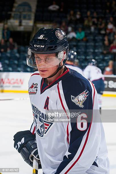 Juuso Valimaki of the TriCity Americans warms up against the Kelowna Rockets on October 21 2016 at Prospera Place in Kelowna British Columbia Canada