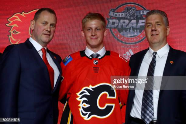 Juuso Valimaki poses for photos after being selected 16th overall by the Calgary Flames during the 2017 NHL Draft at the United Center on June 23...