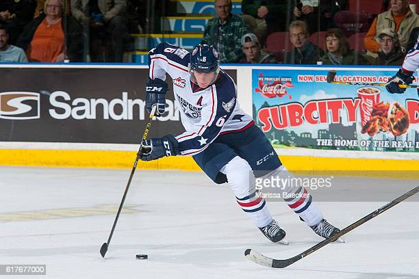 Juuso Välimäki of the TriCity Americans skates with the puck against the Kelowna Rockets on October 21 2016 at Prospera Place in Kelowna British...