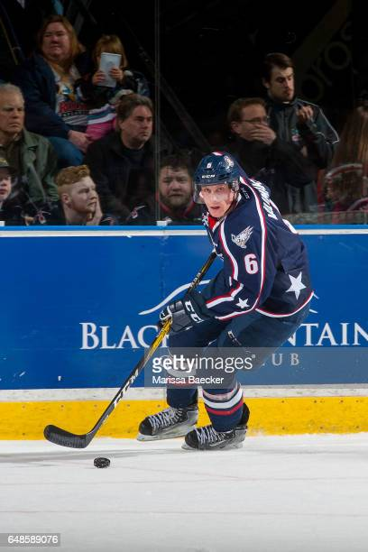 Juuso Välimäki of the TriCity Americans skates with the puck against the Kelowna Rockets on March 4 2017 at Prospera Place in Kelowna British...