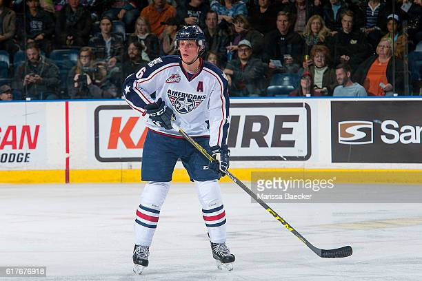 Juuso Välimäki of the TriCity Americans stands on the ice against the Kelowna Rockets on October 21 2016 at Prospera Place in Kelowna British...