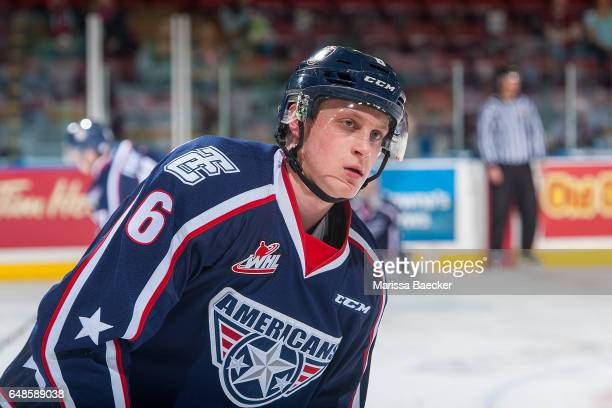 Juuso Välimäki of the TriCity Americans warms up against the Kelowna Rockets on March 4 2017 at Prospera Place in Kelowna British Columbia Canada