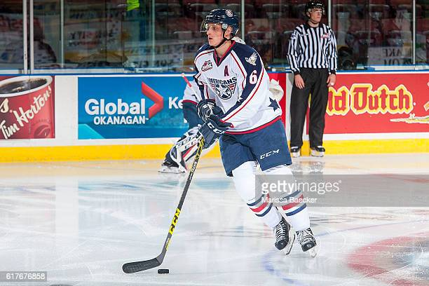 Juuso Välimäki of the TriCity Americans warms up with the puck against the Kelowna Rockets on October 21 2016 at Prospera Place in Kelowna British...