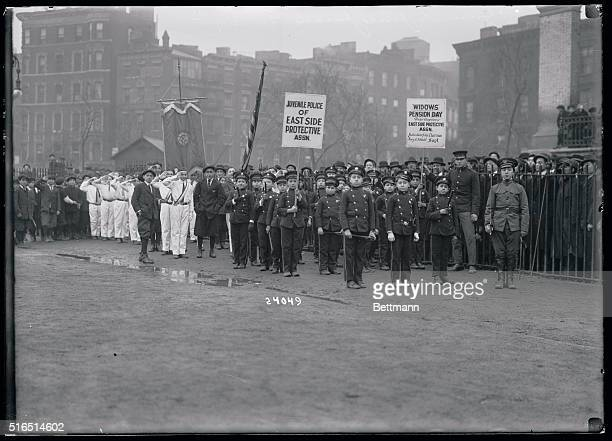 Juvenile police of New York's East Side Protective Association parade on February 12th in interest of mother's pension bill