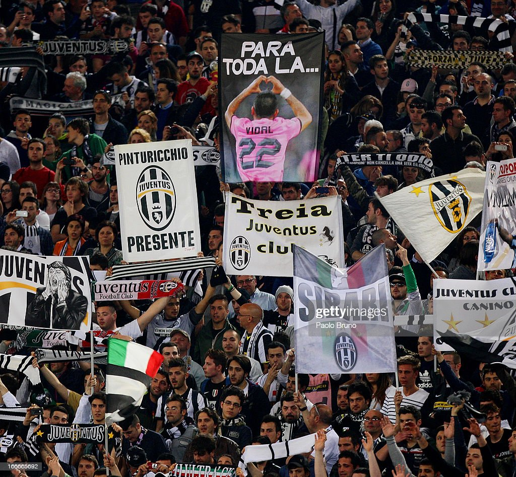 Juvents fan support their team during the Serie A match between S.S. Lazio and Juventus at Stadio Olimpico on April 15, 2013 in Rome, Italy.