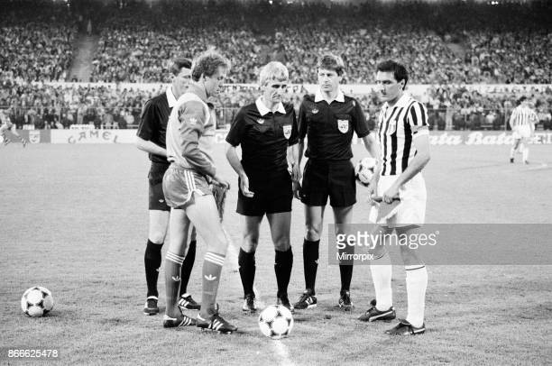 Juventus 10 Liverpool FC 1985 European Cup Final Heysel Stadium Brussels Belgium Wednesday 29th May 1985 match action Captains at start of match...