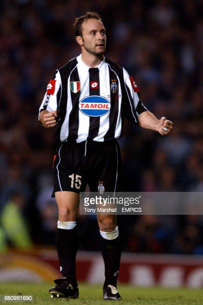 Juventus' Alessandro Birindelli celebrates scoring in the penalty shootout