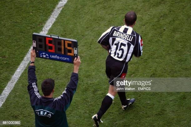 Juventus' Alessandro Birindelli comes on for the injured Igor Tudor