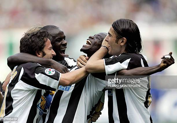 Juventus Alessandro Del Piero Lilian Thuram and Adrian Mutu celebrate Stephen Appiah after he scored a third goal against Cagliari during the last...