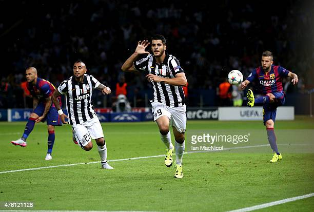 Juventus Alvaro Morata celebrates after he scores during the UEFA Champions League Final between Barcelona and Juventus at Olympiastadion on June 6...