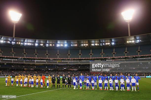 Juventus and Tottenham players line up during the 2016 International Champions Cup match between Juventus FC and Tottenham Hotspur at Melbourne...