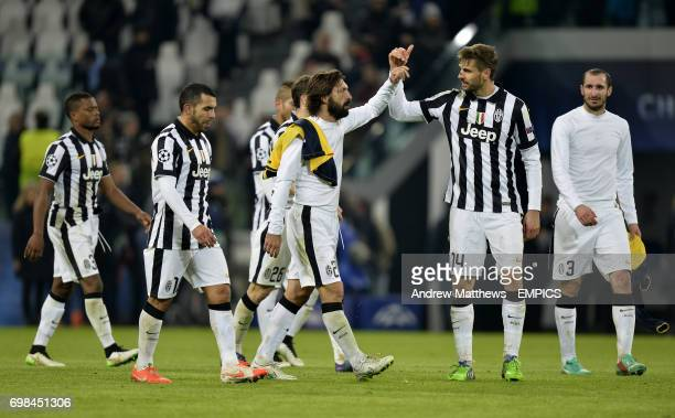 Juventus' Andrea Pirlo and Fernando Llorente celebrate after the final whistle