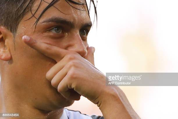 Juventus' Argentinian forward Paulo Dybala celebrates after scoring during a goal during the Italian Serie A football match Juventus vs Cagliari on...