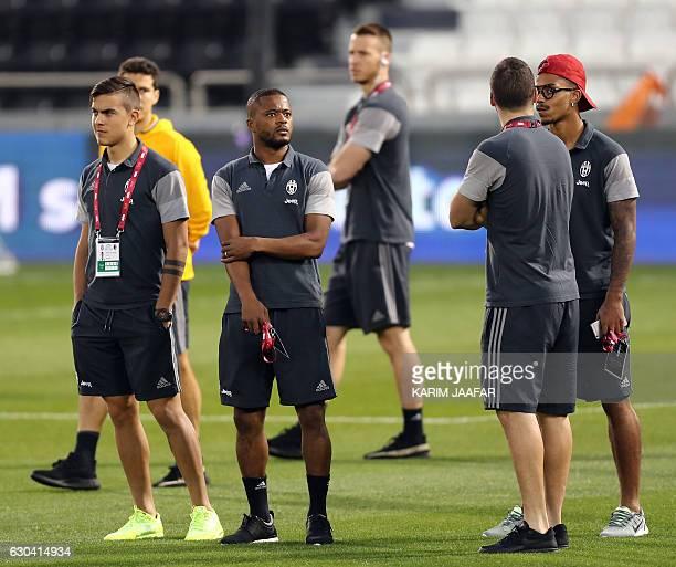 Juventus' Argentinian forward Paulo Dybala French defender Patrice Evra Argentinian forward Gonzalo Higuain and Gabonese midfielder Mario Lemina...