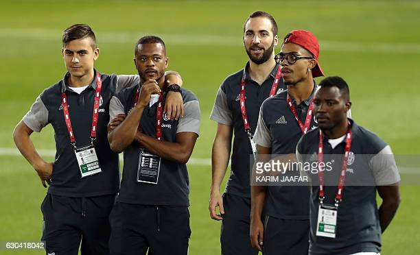 Juventus' Argentinian forward Paulo Dybala French defender Patrice Evra Argentinian forward Gonzalo Higuain Gabonese midfielder Mario Lemina and...