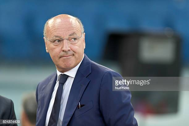 Juventus beat Lazio 40 in the Italian Supercoppa final match in Rome Italy on August 18 2013 In the photo the Juventus manager Marotta Giuseppe Photo...