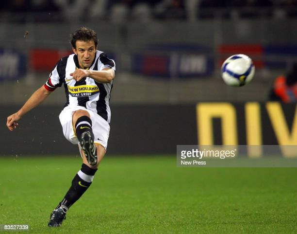 Juventus captain Alessandro Del Piero scores during the Serie A match between Juventus and Roma at the Olimpic Stadio on November 01 2008 in Turin...