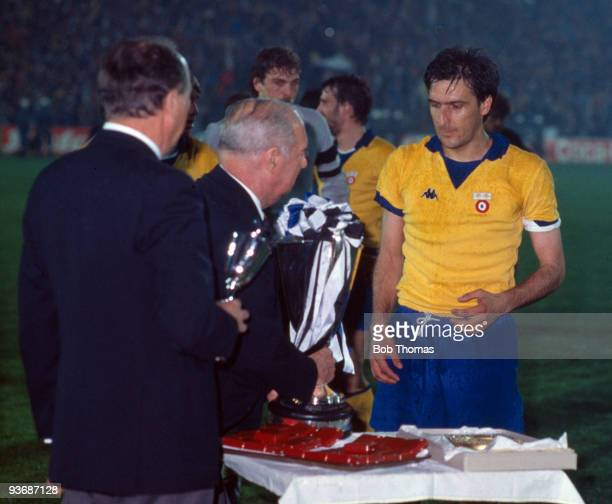 Juventus captain Gaetano Scirea about to receive the trophy after the Juventus v Porto European Cup Winners Cup Final played at the St Jakob Stadium...