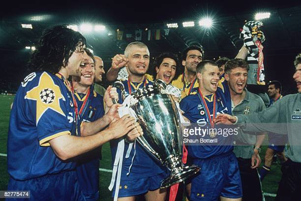 Juventus captain Gianluca Vialli holds the cup after his team beat AFC Ajax to win the UEFA Champions League Final at the Stadio Olimpico Rome 22nd...