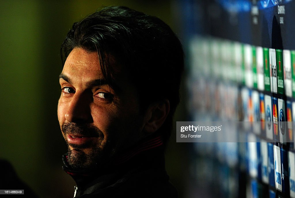 Juventus captain <a gi-track='captionPersonalityLinkClicked' href=/galleries/search?phrase=Gianluigi+Buffon&family=editorial&specificpeople=208860 ng-click='$event.stopPropagation()'>Gianluigi Buffon</a> faces the press during the Juventus press conference at Celtic Park on February 11, 2013 in Glasgow, Scotland.