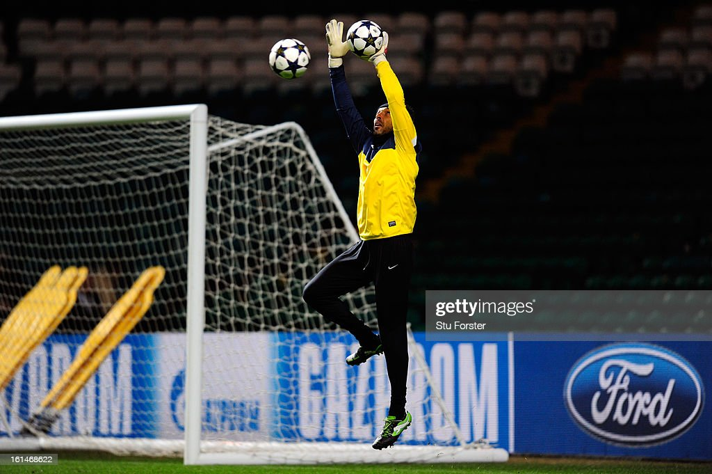 Juventus captain Gianluigi Buffon in action during the Juventus training session at Celtic Park on February 11, 2013 in Glasgow, Scotland.