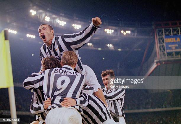 Juventus celebrate a goal during a Serie A match between Juventus and Inter Milan on October 20 1996 in Turin Italy