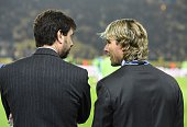 Juventus' Chairman Andrea Agnelli and Juventus' director Pavel Nedved talk ahead of the Round of 16 secondleg UEFA Champions League football match...
