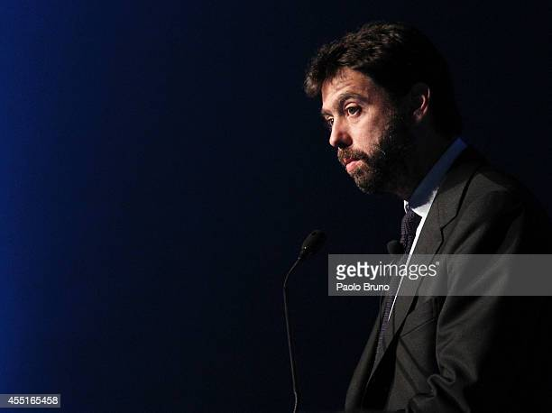 Juventus Chairman Andrea Agnelli attends a UEFA Conference 'Respect Diversity' on September 10 2014 in Rome Italy