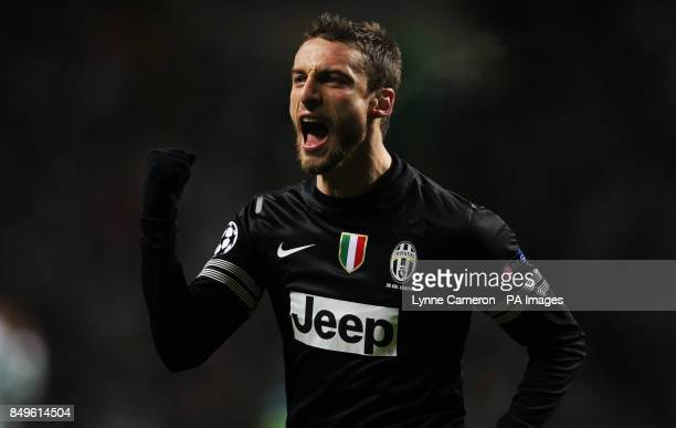 Juventus' Claudio Marchisio celebrates the second goal during the UEFA Champions League Round of Sixteen match at Celtic Park Glasgow