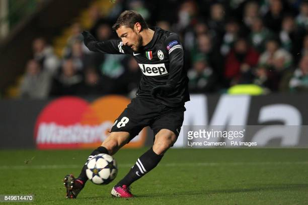 Juventus' Claudio Marchisio scores the second goal during the UEFA Champions League Round of Sixteen match at Celtic Park Glasgow