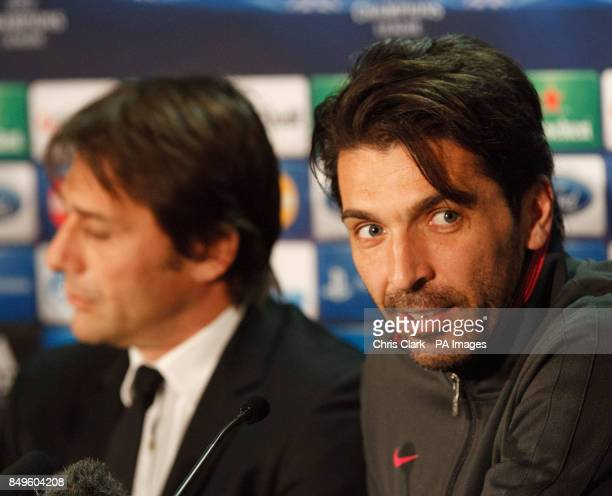 Juventus coach Antonio Conte and team Captain Gianluigi Buffon during a press conference at Celtic Park Glasgow