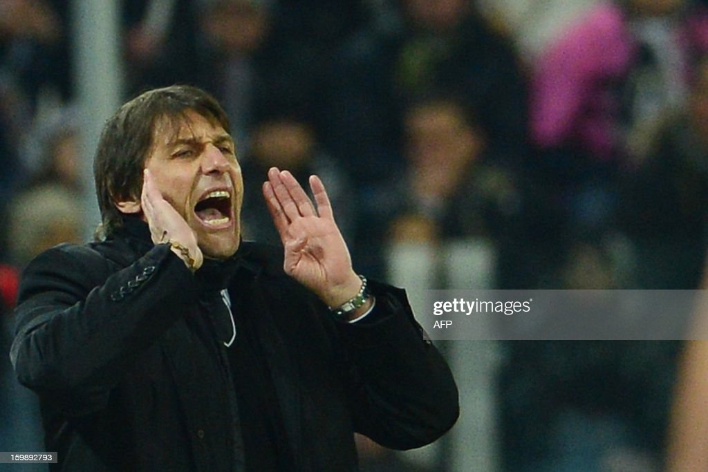 Juventus' coach Antonio Conte reacts during the TIM CUP football match between Juventus and Lazio at the 'Juventus Stadium' in Turin on January 22, 2013.