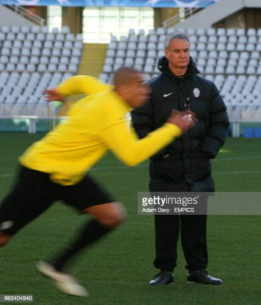 Juventus' coach Claudio Ranieri watches his team training