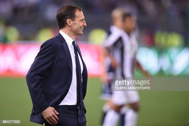 Juventus' coach from Italy Massimiliano Allegri celebrates after winning the Italian Tim Cup final on May 17 2017 at the Olympic stadium in Rome Dani...