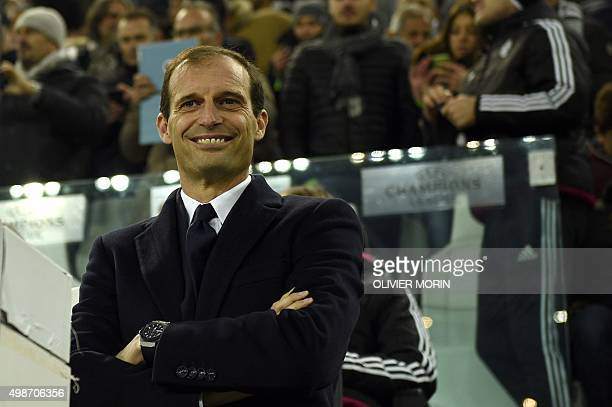 Juventus' coach from Italy Massimiliano Allegri is pictured before the UEFA Champions League football match Juventus vs Manchester City on November...
