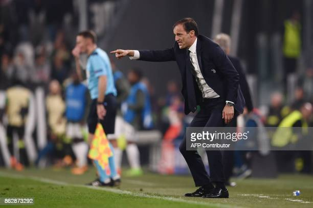 Juventus' coach from Italy Massimiliano Allegri reacts during the UEFA Champions League Group D football match Juventus vs Sporting CP at the...