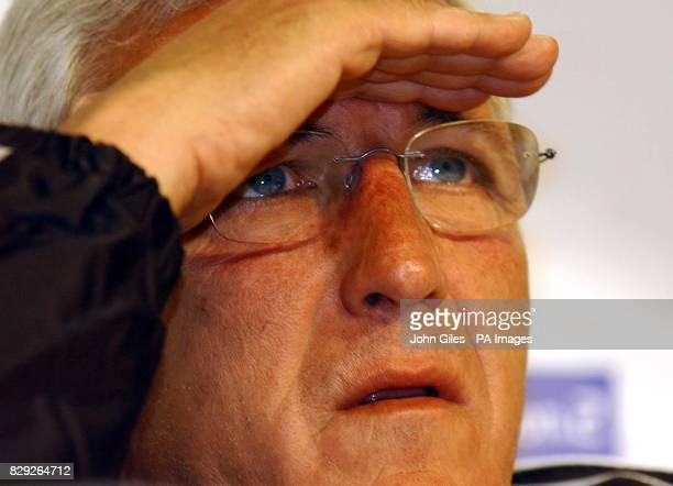 Juventus coach Marcello Lippi attends a media Conference at the Old Trafford Stadium Manchester ahead of the UEFA Champions League Final against AC...