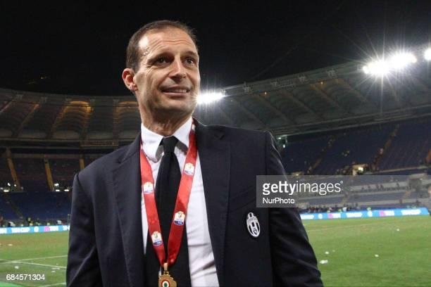 Juventus coach Massimiliano Allegri after the Coppa Italia final football match JUVENTUS LAZIO on at the Stadio Olimpico in Rome Italy