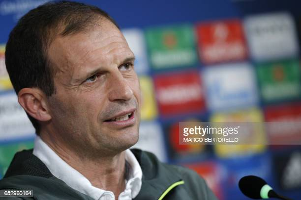 Juventus' coach Massimiliano Allegri attends a press conference on the eve of the UEFA Champions League football match Juventus Vs FC Porto on March...