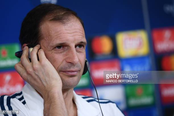 Juventus' coach Massimiliano Allegri attends a press conference on the eve of the UEFA Champions League football match Juventus Vs Barcelona on...