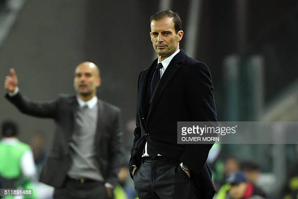 Juventus' coach Massimiliano Allegri attends the UEFA Champions League round of 16 first leg football match between Juventus and Bayern Munich at the...